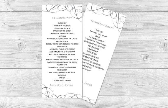 Hochzeit - DIY Wedding Program Template - Grey Swirls Tea Length - Printable Ceremony Program - Instant Download - Adobe Reader Format - DIY You Print