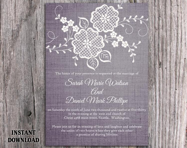 Diy Lace Wedding Invitation Template Editable Word File Download