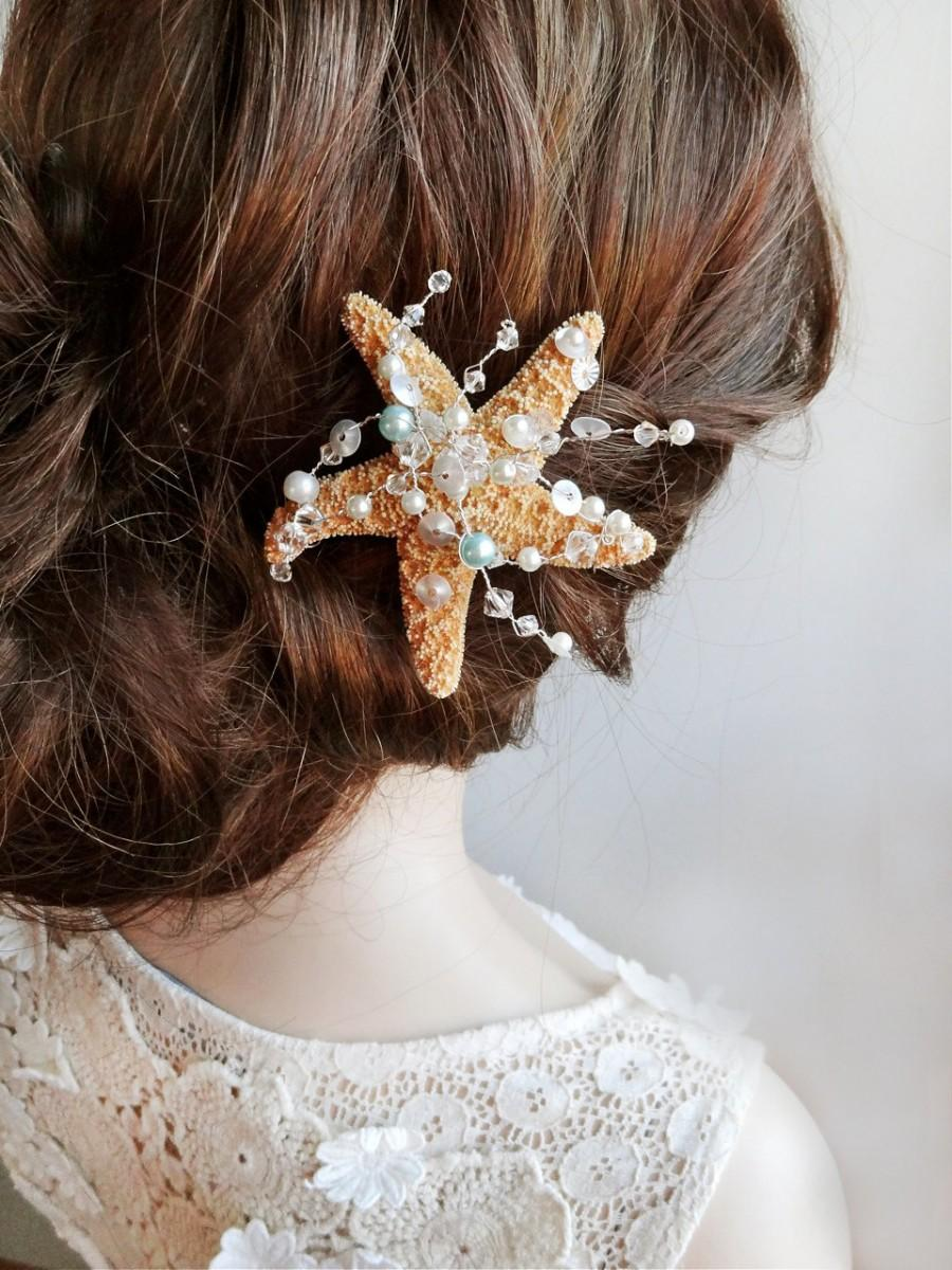 Starfish Hair Clip Pin Ocean Jewelry Beach Wedding Accessories Seashell Swarovski
