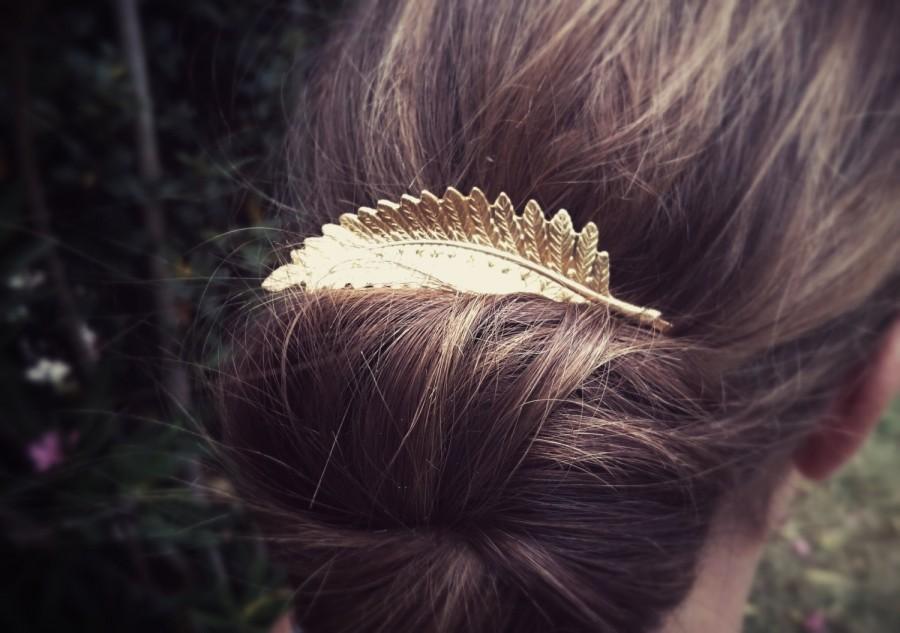 Свадьба - Large Fern Leaf Bobby Pin Gold Fern Leaf Hair Pin Hair Accesories