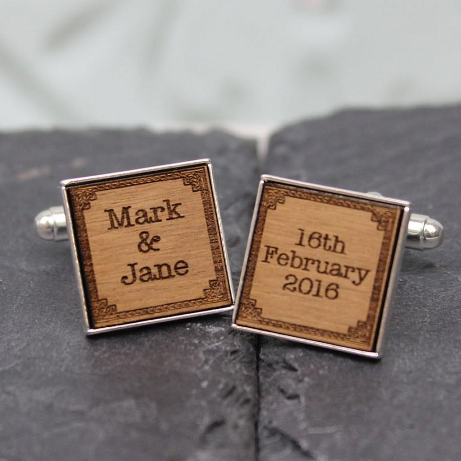 Wedding - Personalised Name/Date Wedding Cufflinks ideal for Groom, Groomsmen, Ushers, Best Man and Father of the Bride