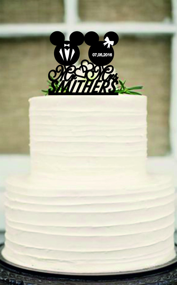 Mickey And Minnie Mouse Silhouette Cake Topper,Mr And Mrs Wedding ...