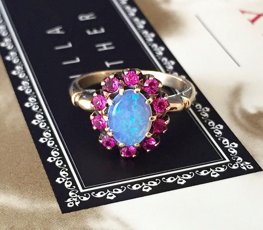 Mariage - Antique Australian Opal Ruby Cluster Halo Ring Rothman Schneider 1940s Yellow Gold Alternative Engagement Ring Promise Ring Georgian Style