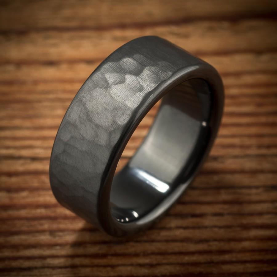 Mens Wedding Band Hammered Comfort Fit Interior Black Zirconium