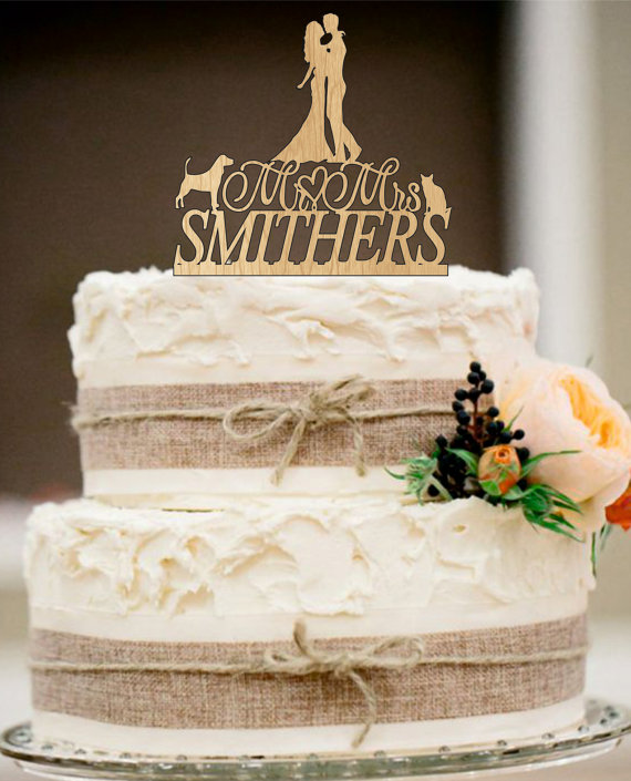 Rustic Wedding Cake Topper,family Wedding Cake Topper,Personalized Custom  Wedding Cake Topper,Unique Wedding Cake Topper,dog And Cat