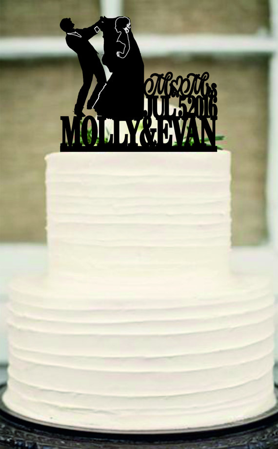 Funny Wedding Cake Topper Silhouette Couple Bride And Groom Cake