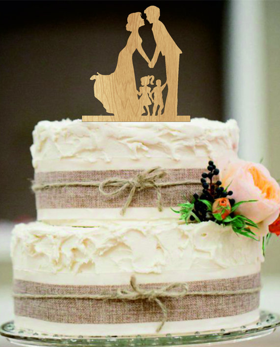 Mariage - family Wedding Cake Topper,Bride and Groom with little girl and little boy silhouette,Unique wedding cake topper,Rustic Wedding cake toppe