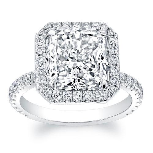 زفاف - Women's 18kt white gold diamond halo engagement ring with 2ct Princess Cut White Sapphire and 0.60 ctw G-VS2 diamonds