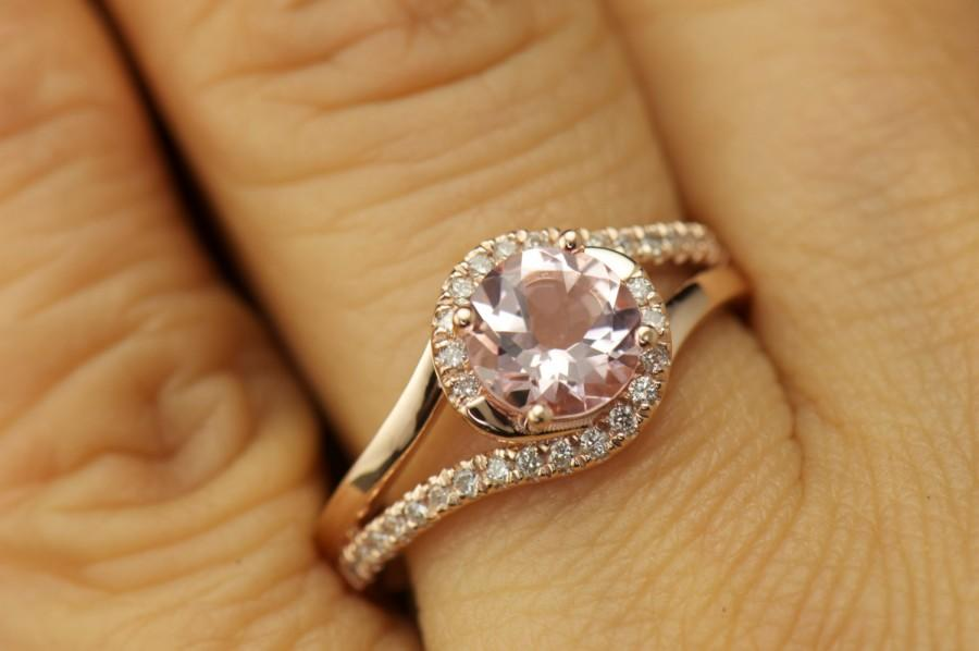 Свадьба - Olivia - Morganite and Diamond Engagement Ring in Rose Gold, Round Brilliant Cut, Twisted Shank Halo Design, Modern Style, Free Shipping