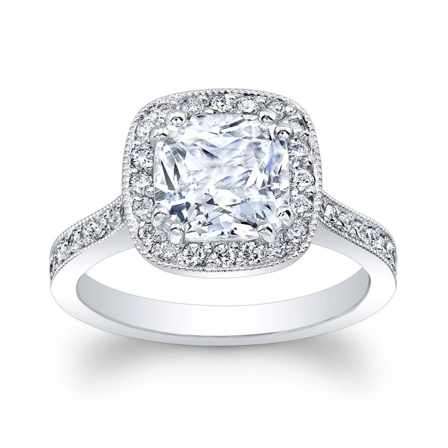 Свадьба - Ladies 18kt white gold vintage engagement ring 1.70ct Cushion Cut white sapphire Ctr 0.50 ctw G VS2 diamonds