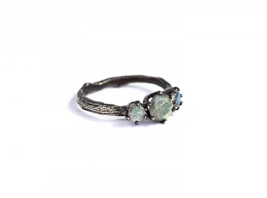 Labradorite Twig Engagement Ring Labradorite Engagement Ring Three