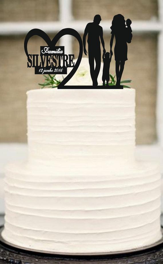 Wedding - Bride and Groom little boys family wedding cake topper,unique wedding cake topper,Silhouette Wedding Cake Topper,Anniversary Cake Topper
