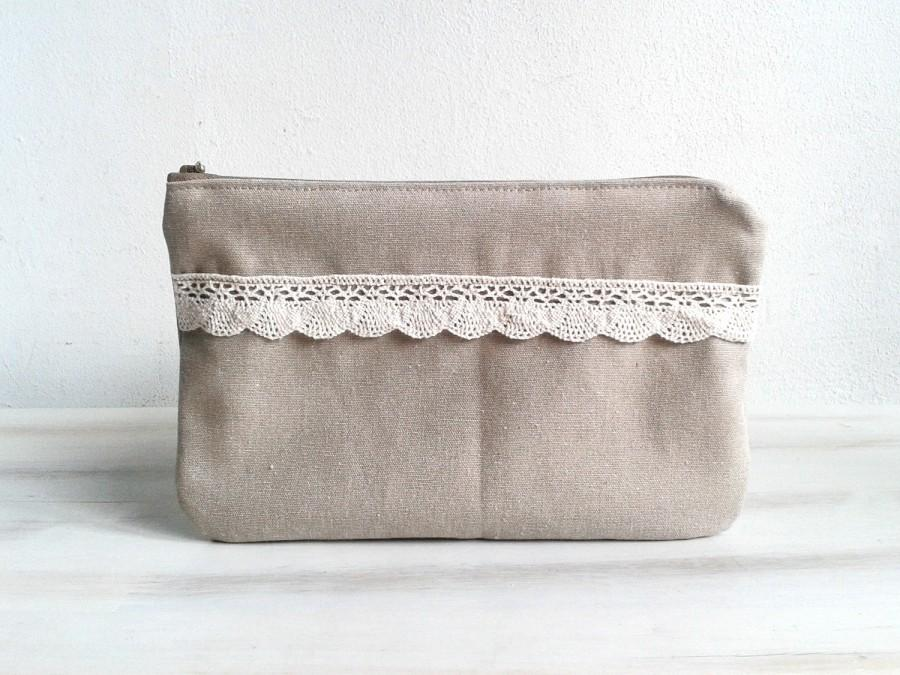 Свадьба - Bridesmaids Clutch Bridesmaid Pouch Purse Cosmetic Case Accessory Pouch Zippered Natural Color ohtteam