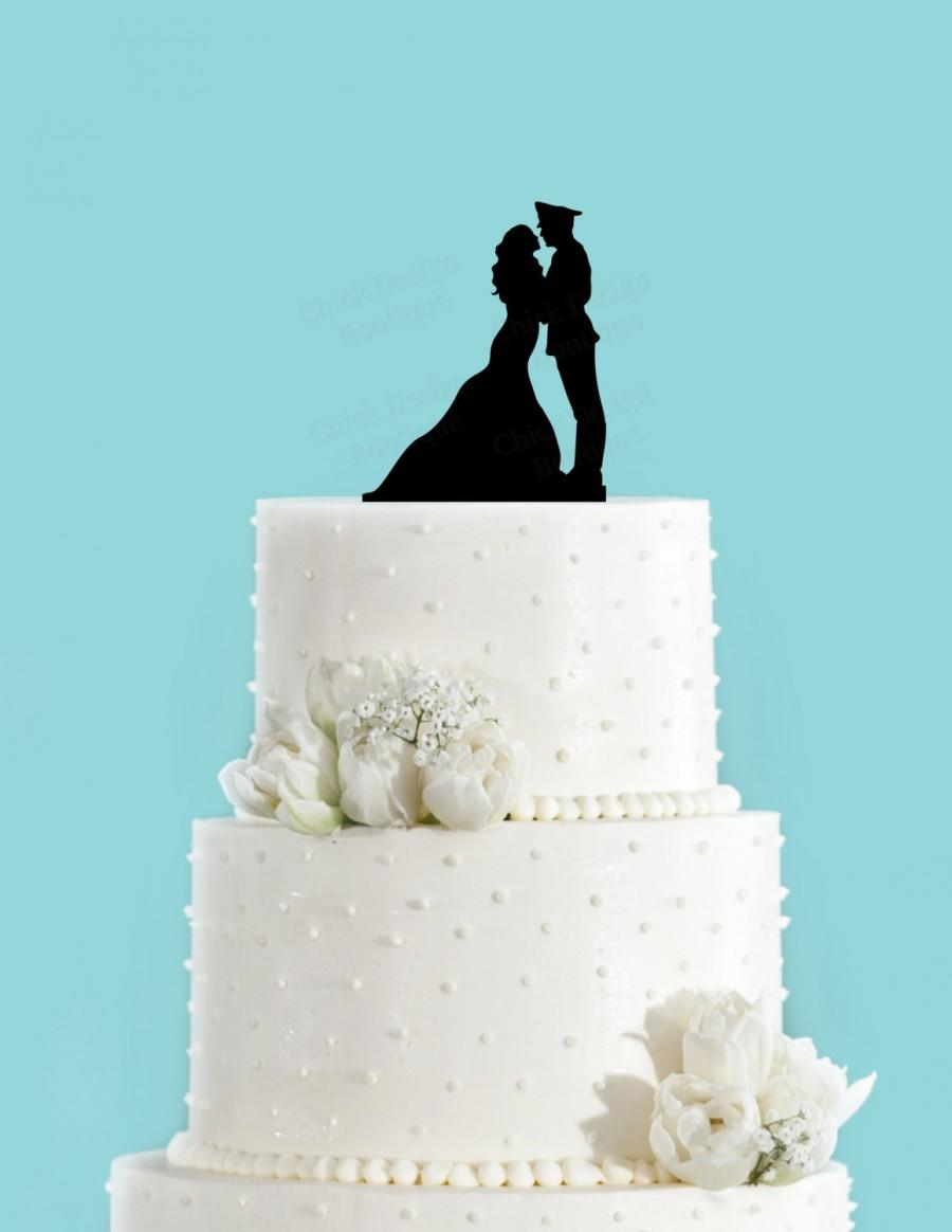 Military Couple Acrylic Wedding Cake Topper Long Dress 2458943