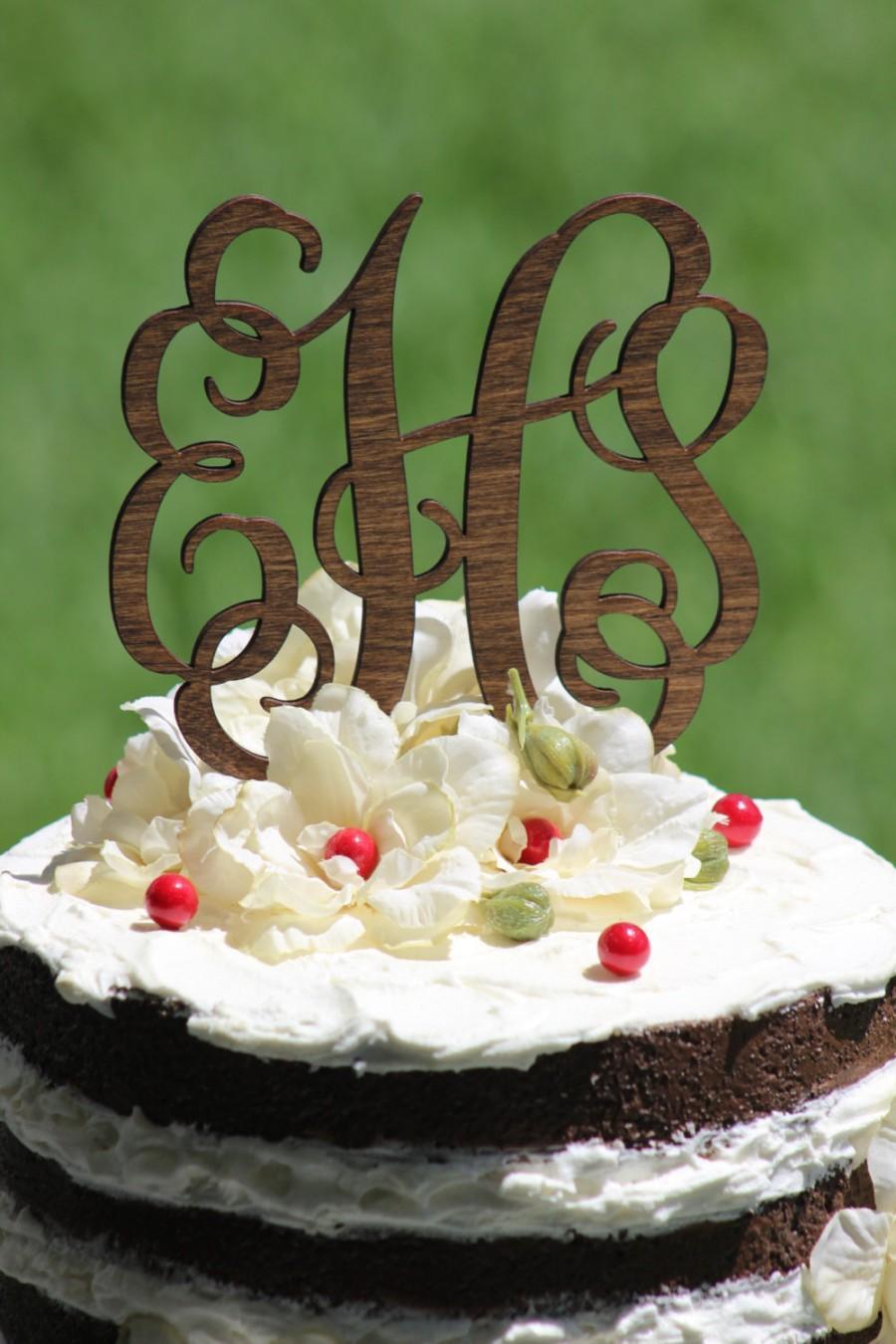 Hochzeit - Rustic Wooder Monogram Wedding Cake topper - Wooden cake topper - Personalized Cake topper