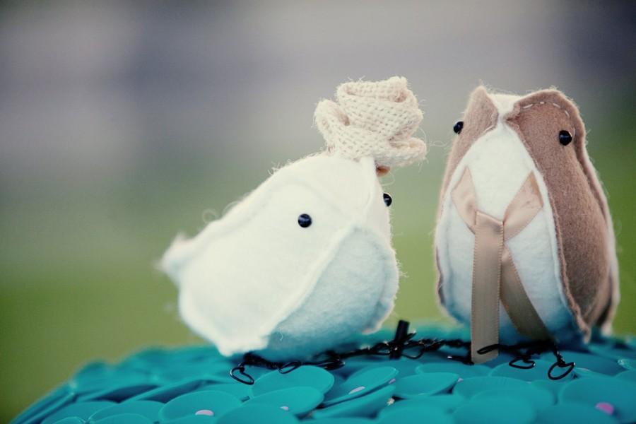 Hochzeit - bird cake toppers sewn