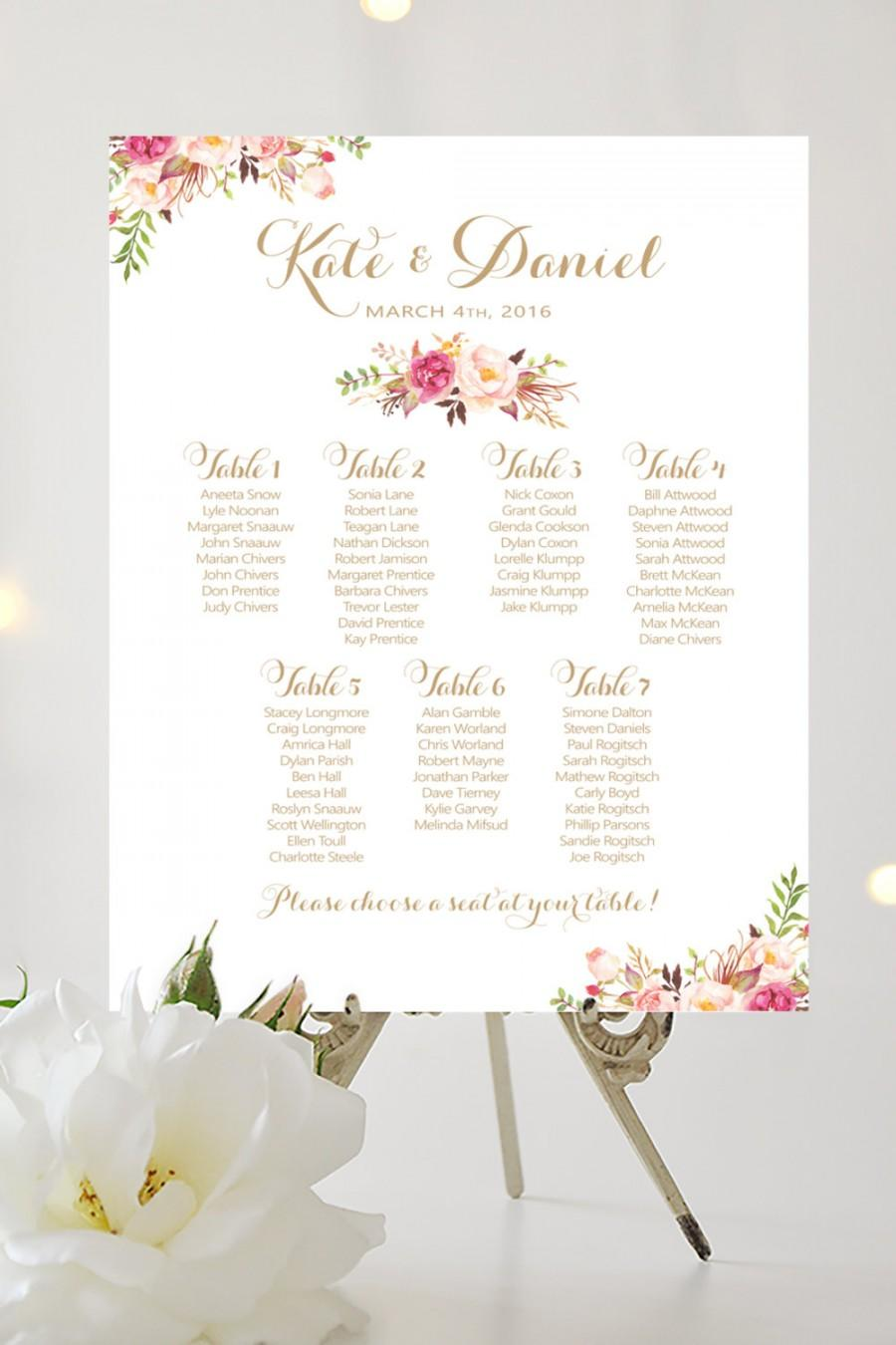 Wedding Seating Chart Large Poster Blooms Vintage Gold Script Personalized I Create And You Print