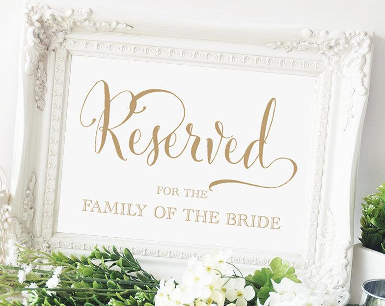 Reserved For The Family Of The Bride Sign - 5x7 - DIY