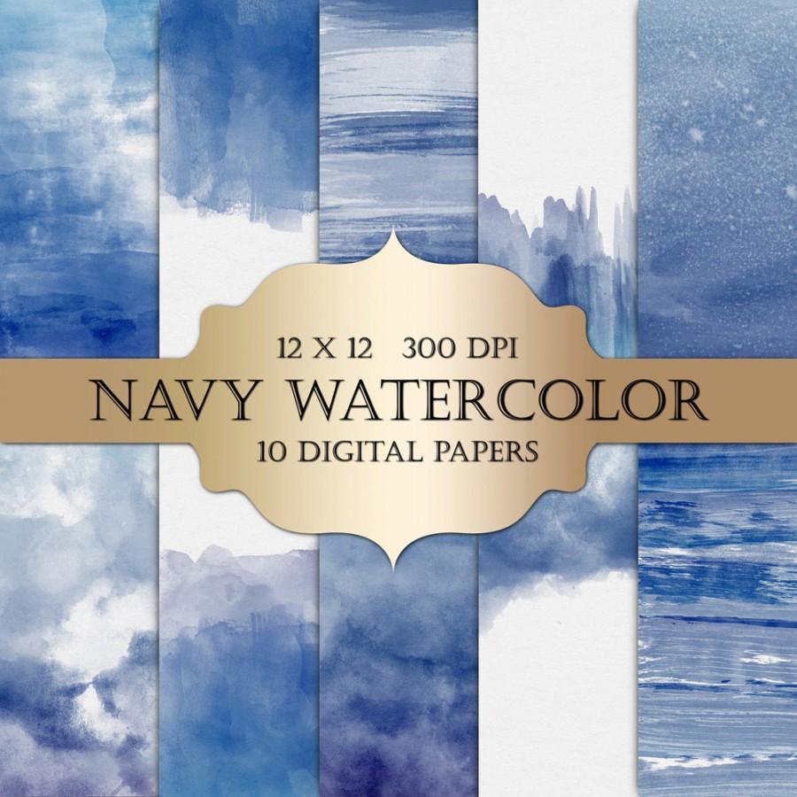 Watercolor Digital Paper - Navy Watercolor, Painted Digital Paper ...