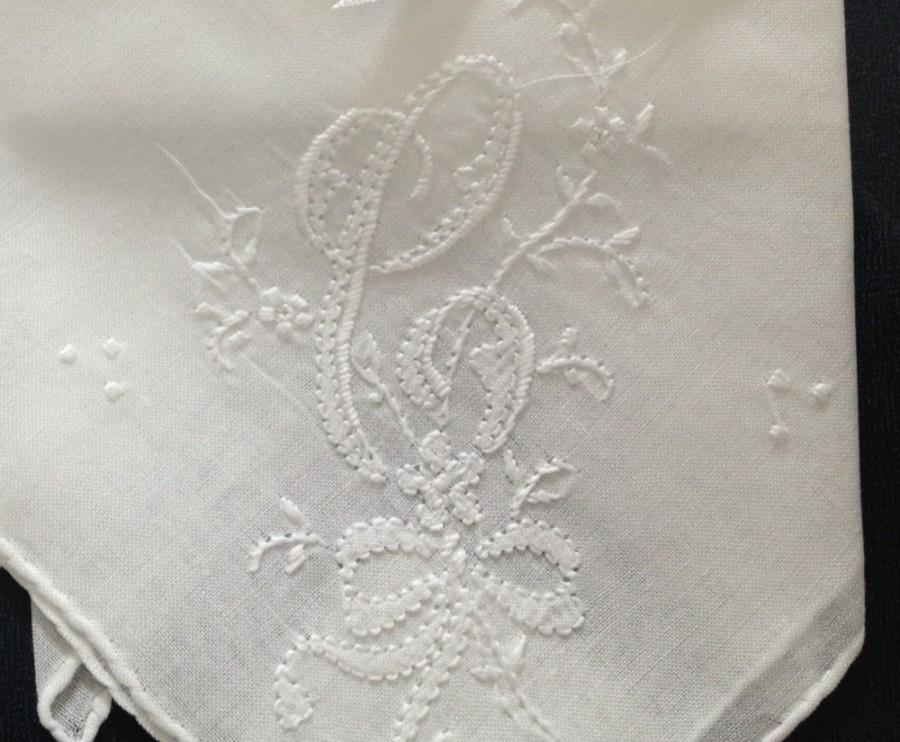 Wedding - Classic C Initial HAND MONOGRAM Hankie Handkerchief UNUSED Vintage Stock Monogrammed Wedding Bridal