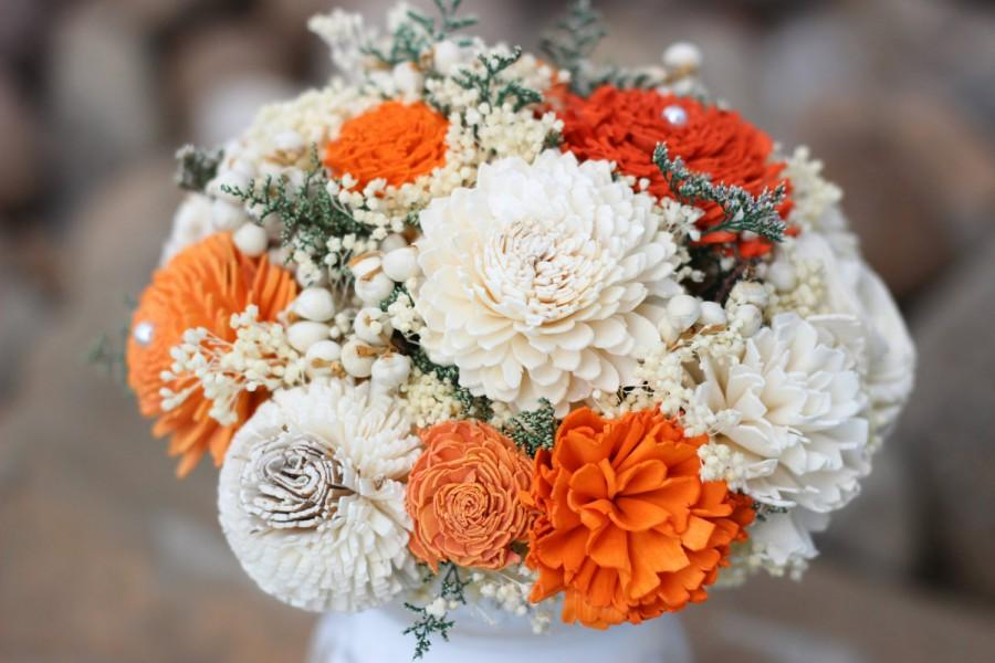 Wedding - Bridesmaids Bouquet, Fall Wedding Bouquet, Orange,Ivory Bridesmaids Bouquet, Keepsake Bouquet, Rustic Bouquet