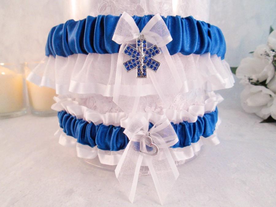 Свадьба - EMT Wedding Garter Set - Emergency Medical Technician Wedding Garters - Something blue Bridal Garters.