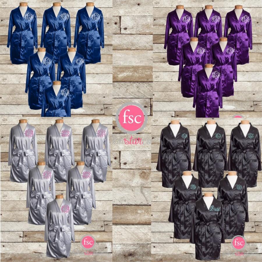 Свадьба - Monogrammed Bridesmaid robes , satin wedding robes , bridesmaid gifts , personalized wedding robes , monogrammed satin robes