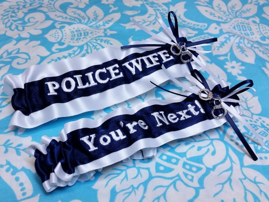 Свадьба - Navy and white Police Wife garter set, You're next garter set, fine line garter set, handcuffs garter set, Police garter set