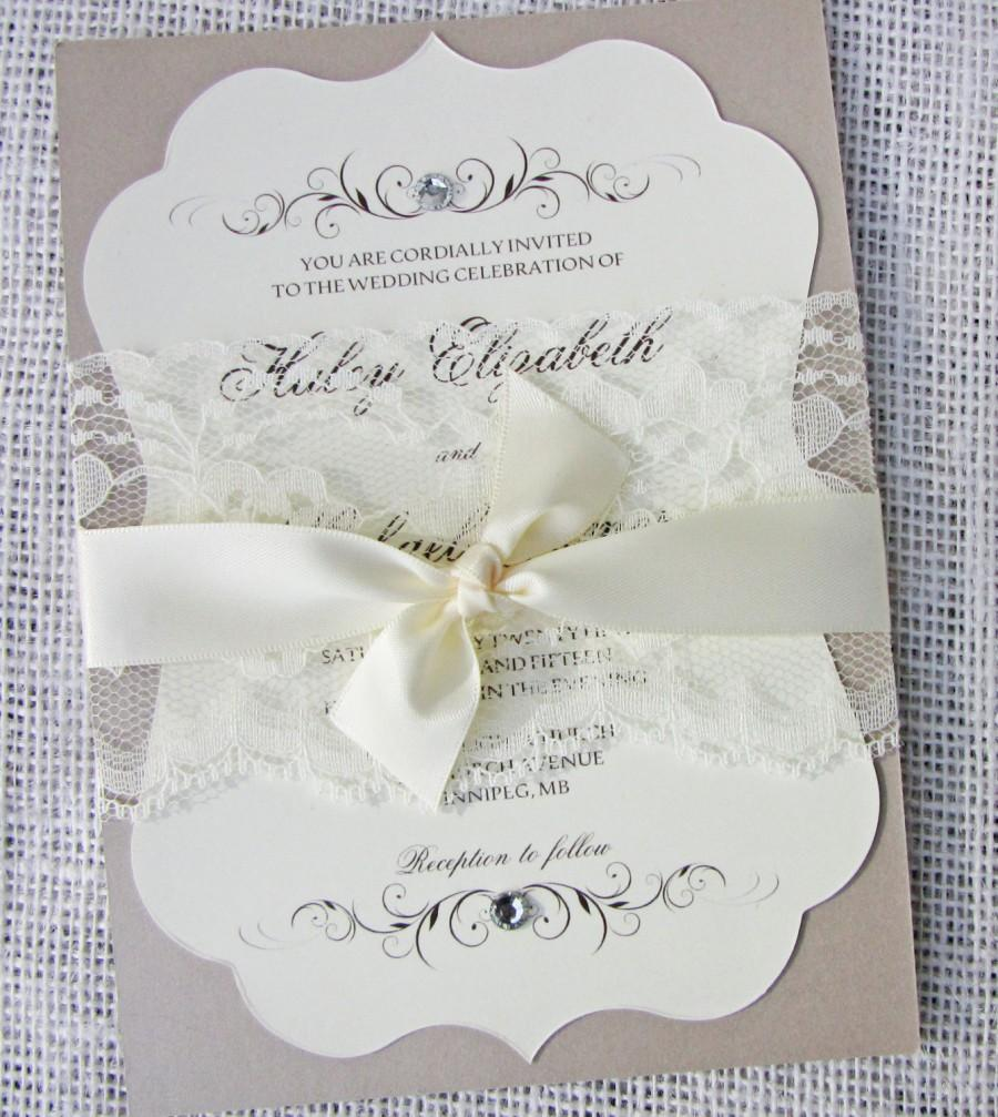 Hochzeit - Vintage Elegant Lace Wedding Invitation, Vintage Wedding Invitation, Classic, Elegant Wedding Invitation,  Sample