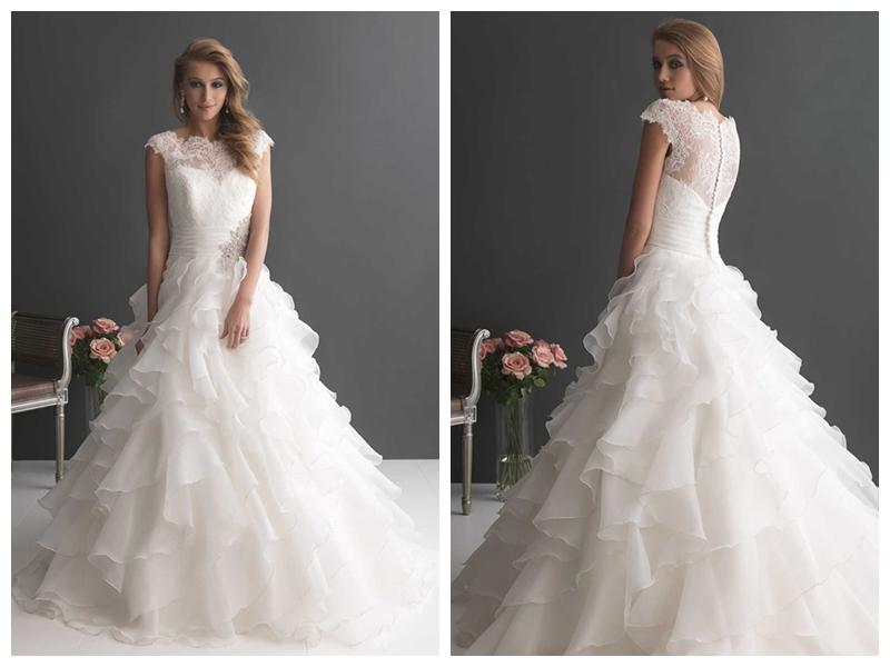 Layered Wedding Dress With Sleeves : Wedding cap sleeves ruffled layered ball gown dress with