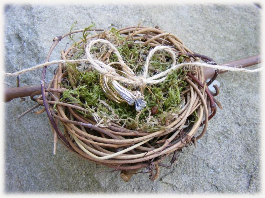 Wedding - CLEARANCE - Ring Bearer Pillow Alternative perfect for woodland weddings - bird nest ring holder - READY to SHIP