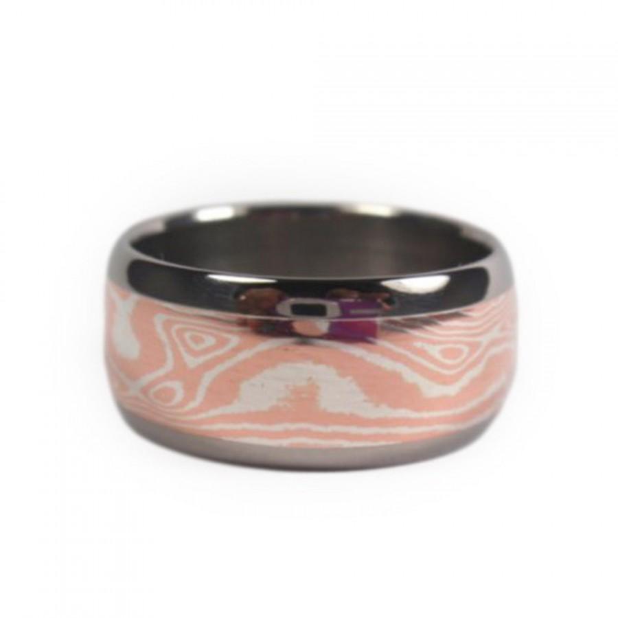 Свадьба - Copper and Silver Mokume Gane Band, Titanium Ring, Mokume Gane
