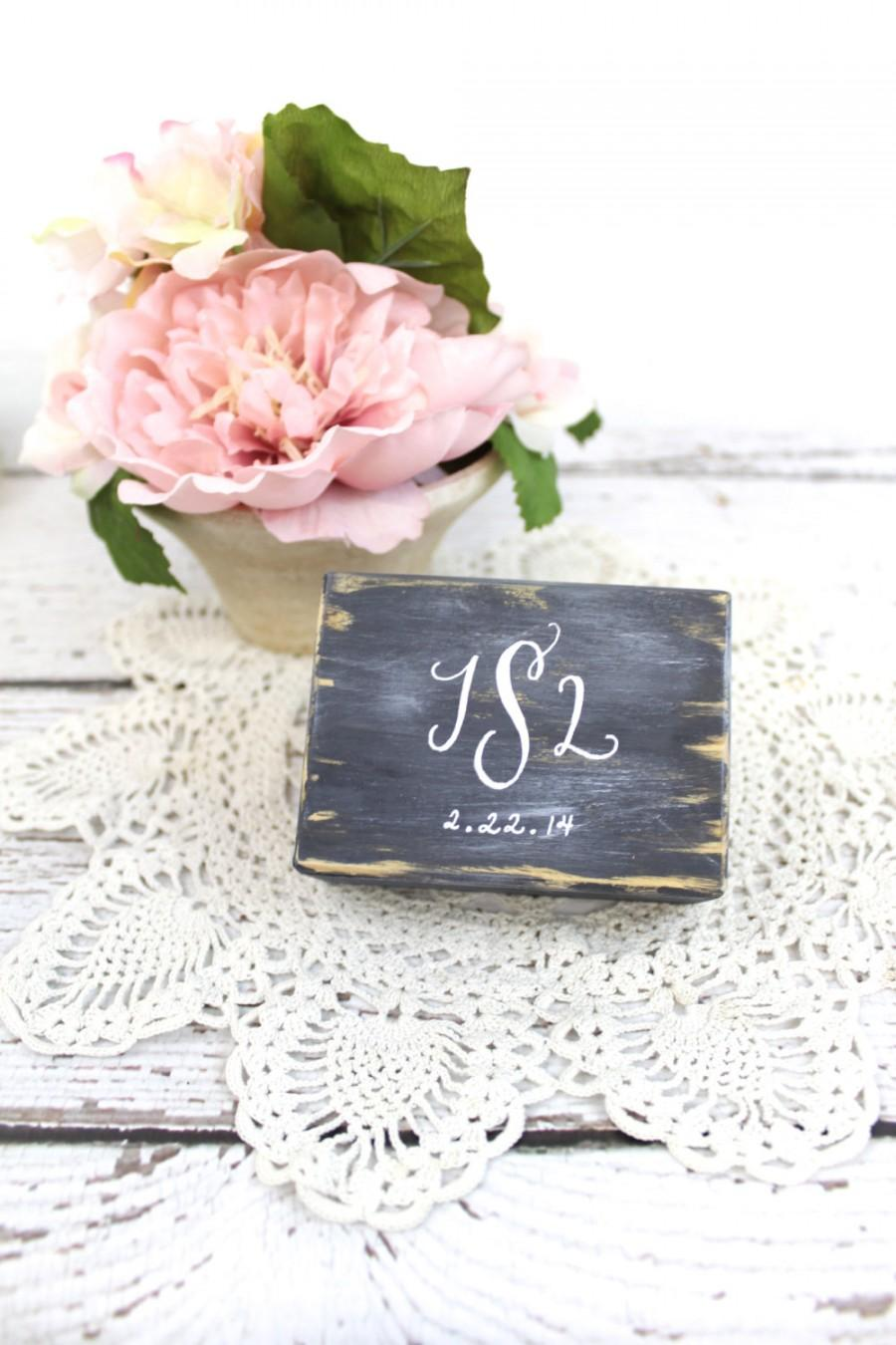 Ring Bearer Pillow Box With Lace, Wedding Monogram, Rustic Vintage ...