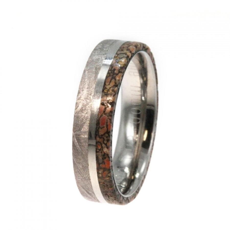 Wedding - Meteorite Ring with Dinosaur Bone and Titanium Pinstripe Inlay on Titanium Band Engraving Available