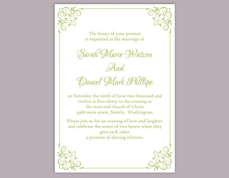 Свадьба - DIY Wedding Invitation Template Editable Word File Instant Download Elegant Printable Invitation Green Wedding Invitation Floral Invitation