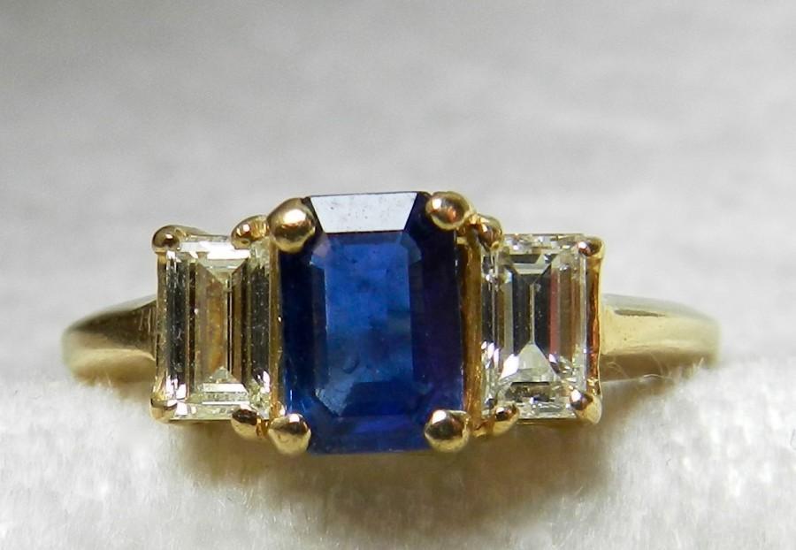 زفاف - Sapphire Ring Blue Sapphire Engagement Ring 14K Genuine .50 ct tdw Diamond Sapphire Engagement Ring Yellow Gold 14K