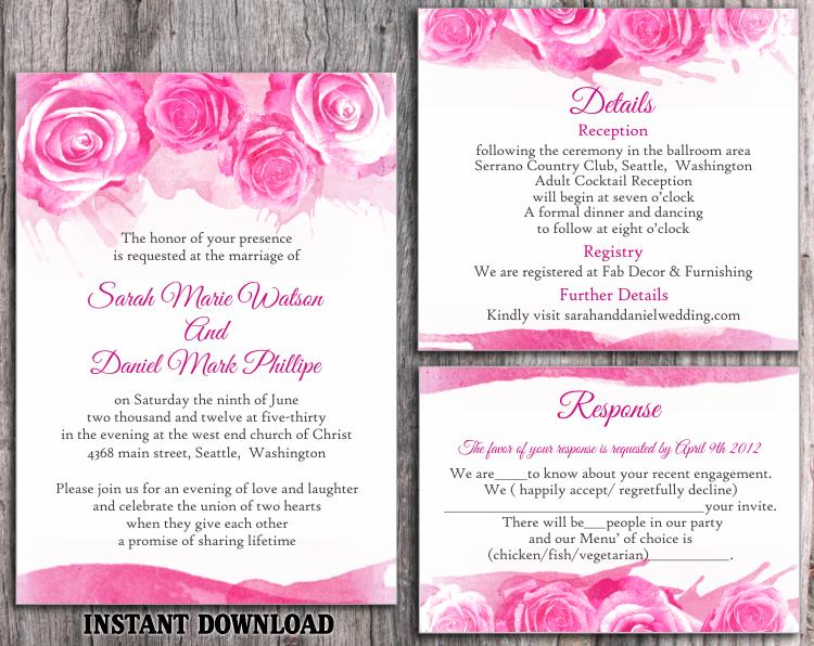 diy watercolor wedding invitation template set editable word file