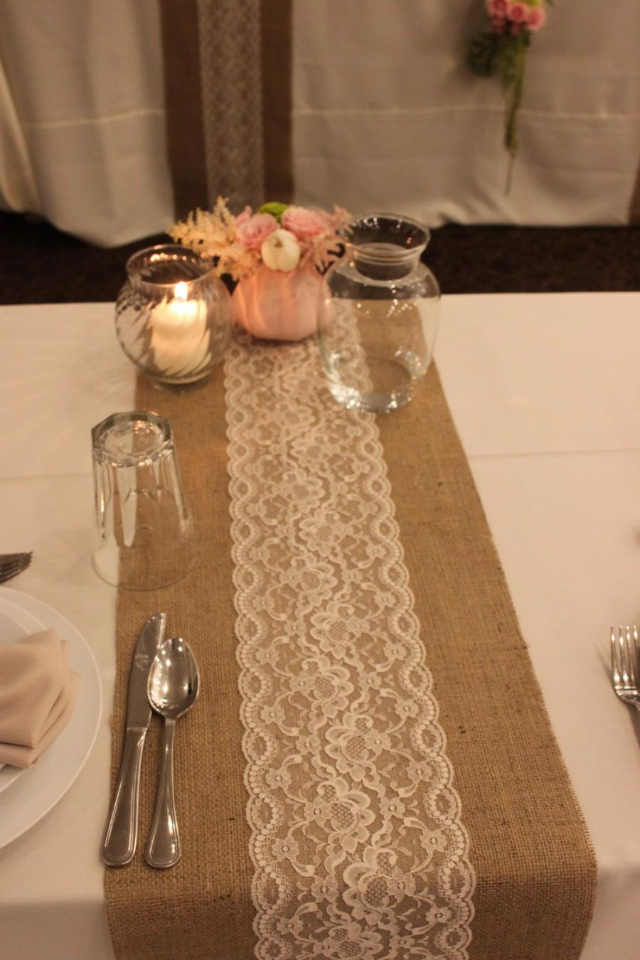 SALE 12 FT 12 X 144 Burlap Lace Table Runner Wedding Decor