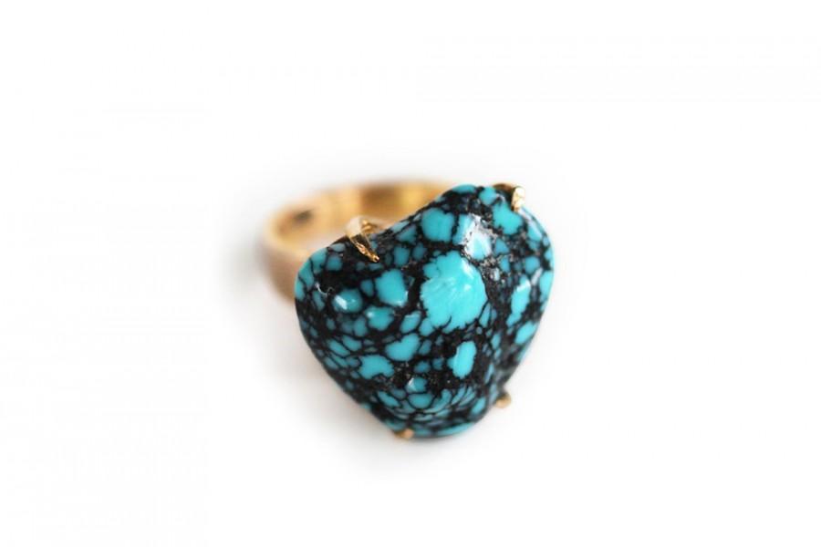زفاف - Vintage Modernist 18k Gold Claw Set Spiderweb Turquoise Rough Heart Ring - Mid Century Native American Jewelry