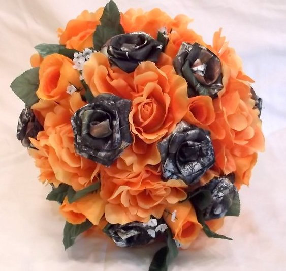Camo Wedding Bouquet, Bridal Bouquet, Mossy Oak Camo, Orange Silk ...