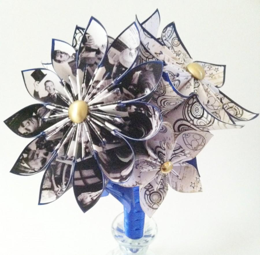 Свадьба - Doctor Who Inspired Wedding Bouquet- one of a kind, origami, Gallifreyan, flowers, whovian, first anniversary gift, perfect for her, geekery
