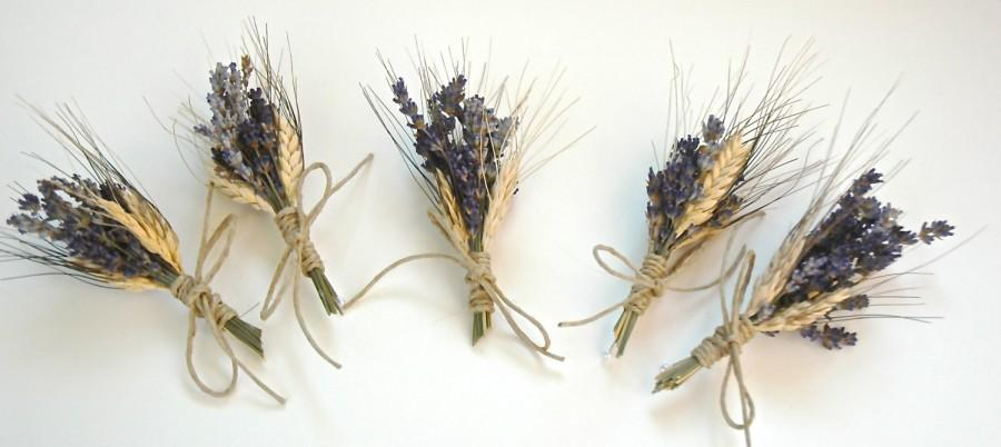 زفاف - 6 Custom Lavender  and Wheat Boutonnieres or Corsages