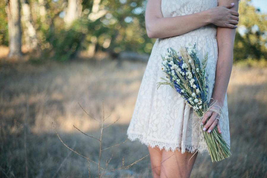 Mariage - Wildflower Wedding  Brides Bouquet of Lavender Larkspur Wheat and other dried flowers