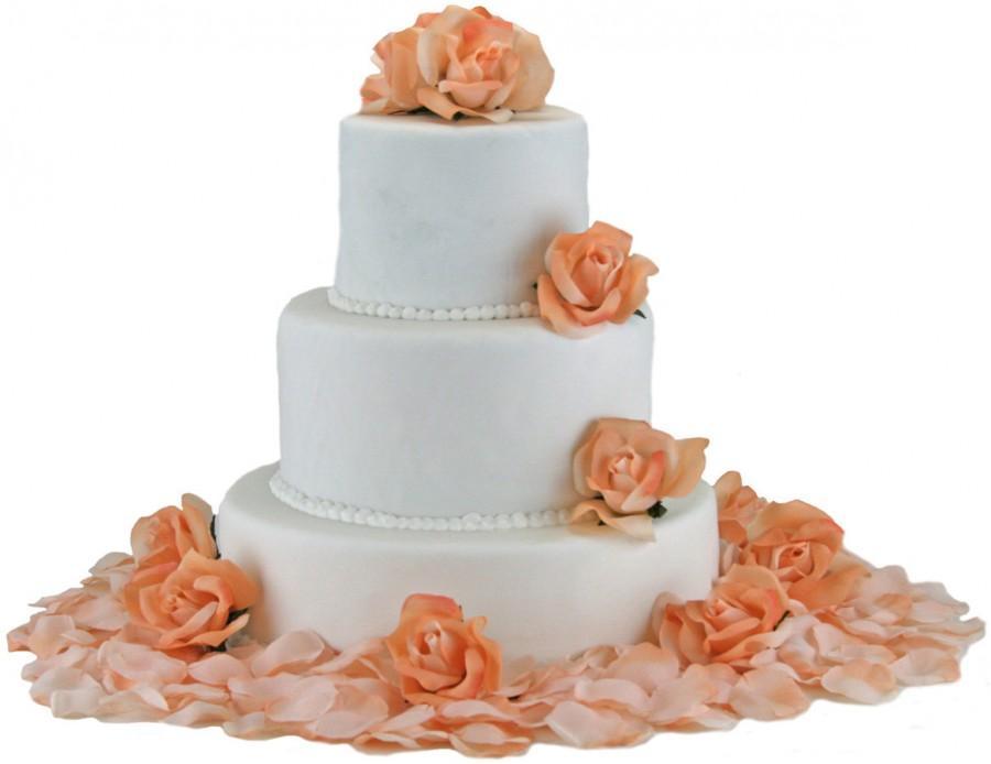 زفاف - Peach Silk Rose Cake Flowers