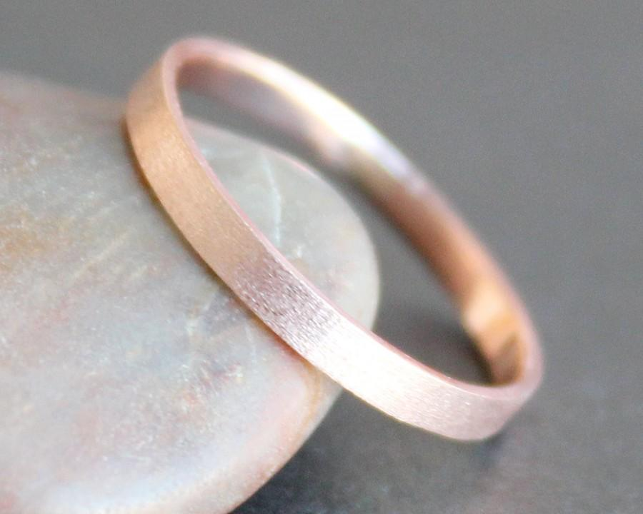 Hochzeit - 14k Solid ROSE Gold Ring - 2mm Rectangle Band - Simple UNISEX Wedding Ring (Size 3 - 9) - Shiny, Matte or Hammered