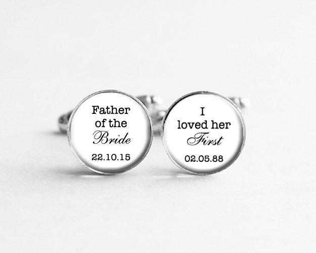 Wedding - Father of the Bride Gift, I Loved Her First Cufflinks, Personalized Cufflinks, Wedding Date Jewelry, Wedding Cuff Links, C113