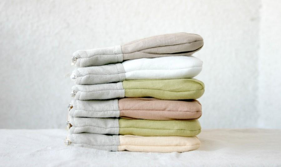 Mariage - SET of 6 Bridal bridesmaids linen Ruched clutch pleated linen choose your colour