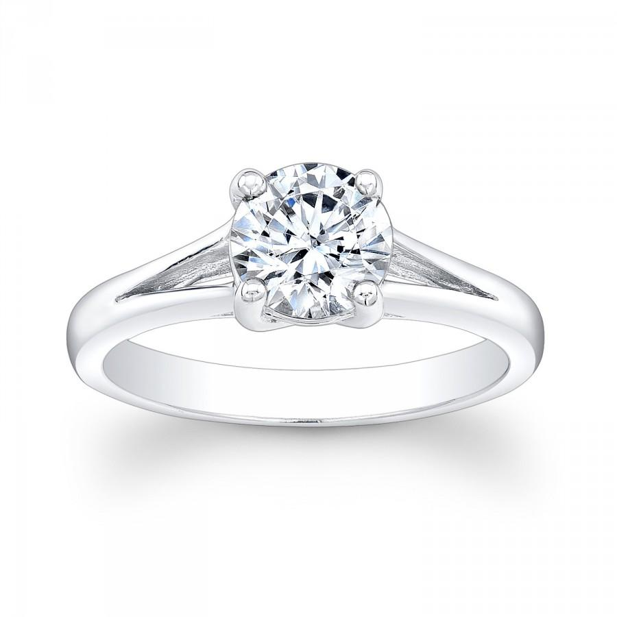 14kt White Gold Split Band Engagement Ring With 1ct Round White Sapphire