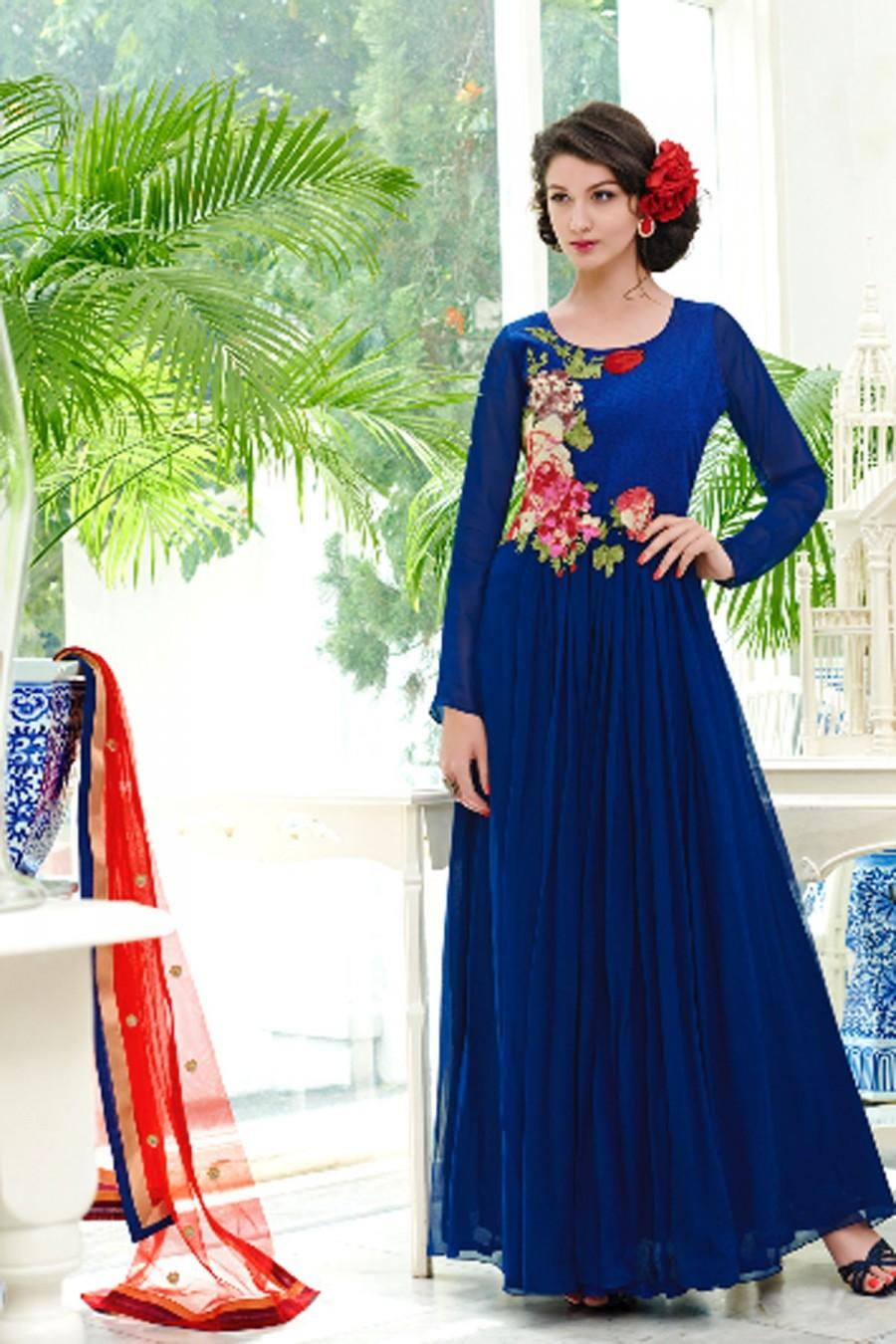 Blue Lovely Pure Georgette Gown With Full Sleeves #2459115 - Weddbook