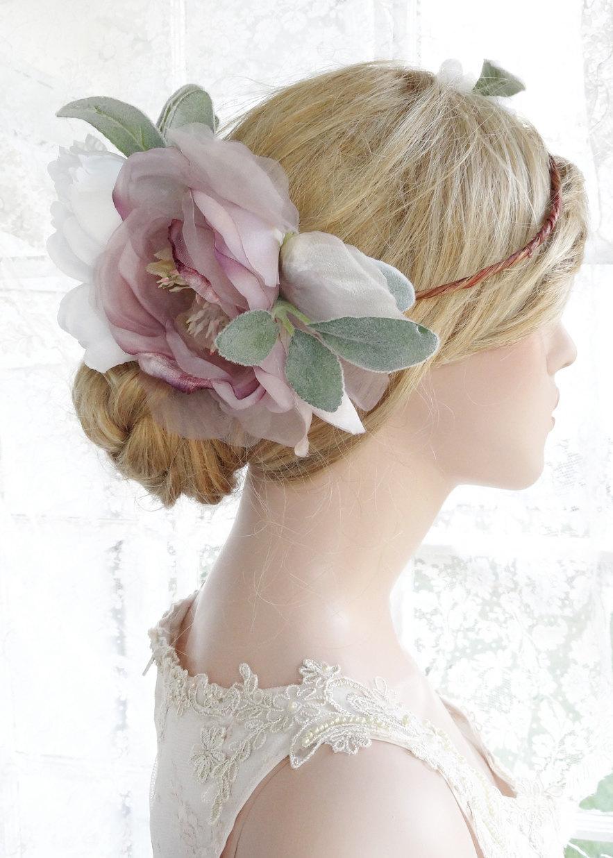 Large Flower Crown Wedding Headpiece Lavender Flower Crown Bridal